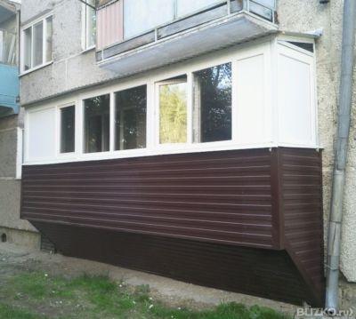 Остекление балкона + наружная обшивка профнастилом в тюмени .